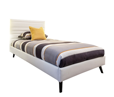 Bergamo Modern White Eco-leather Bed - TWIN