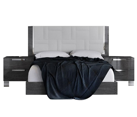 Sarah Modern Italian Bed Dark Grey Birch and White Eco Leather - King