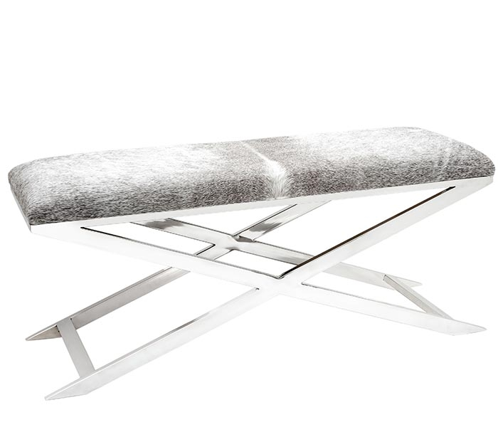 Rimini Modern Grey Cowhide Bench With Stainless Steel Legs