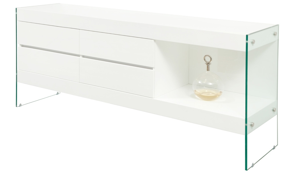 Ultra-modern buffet finished in white lacquer with tempered glass legs - Mh2g - Buffets - Lucca