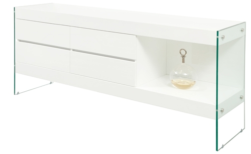 Ultra-modern buffet finished in white lacquer with tempered glass legs