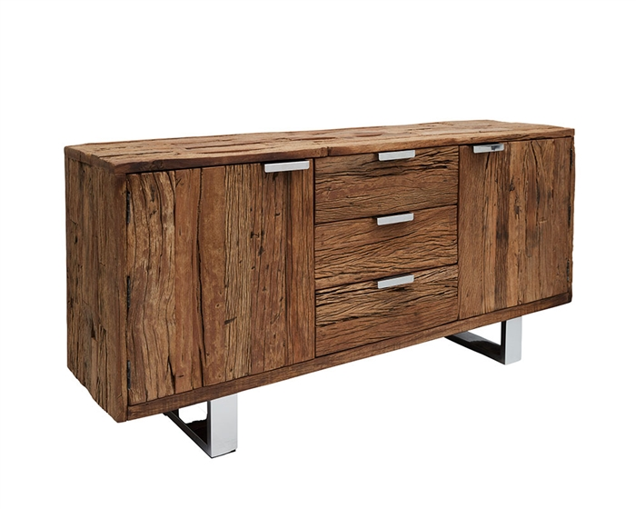 New Amalfi Modern Reclaimed Teak Wood Buffet  and stainless steel handles