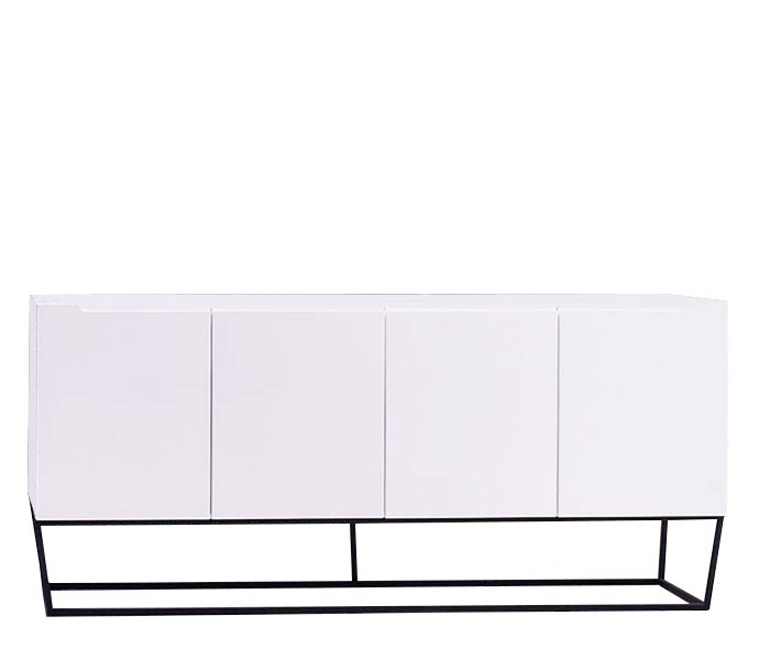 Bergamo White Lacquer Modern Buffet Floor Sample
