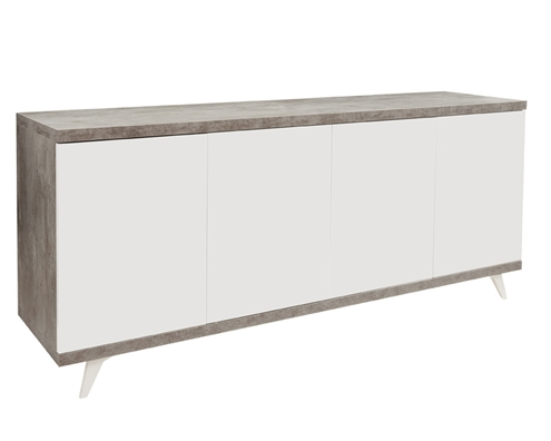 Treviso Modern Italian 4 Door Buffet Grey White