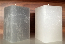 Rustique Square Modern Candle 4x6 - White