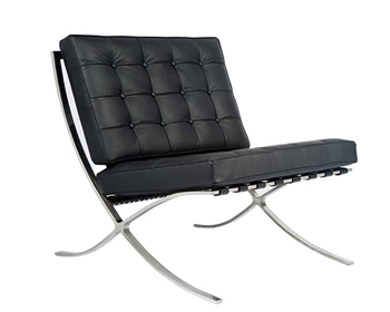 Modern Barcelona Chair in black leather