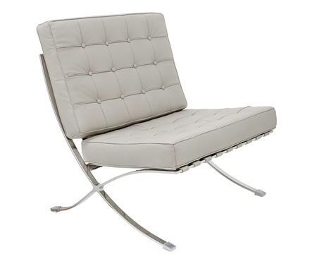 Modern Barcelona Chair in Grey leather