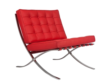 Modern Barcelona Chair in Red leather
