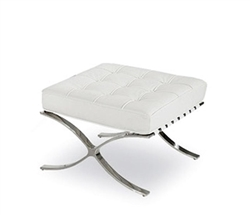 Modern Barcelona Ottoman in White leather