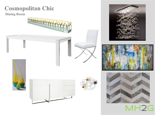 Cosomopolitan Chic Dining Package features the white lacquered Turin table with contrasting black glass top