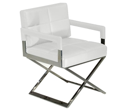New Piazza Chair in White Leather