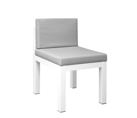 Lucca Modern Desk Chair in White Lacquer and Grey Leatherette