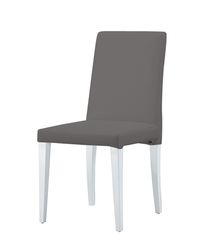 Anzio Modern Dining Chair Grey leatherette with white lacquer legs- FINAL SALE - NO RETURNS