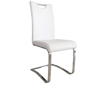 Nova Modern Dining Chair in White Leather