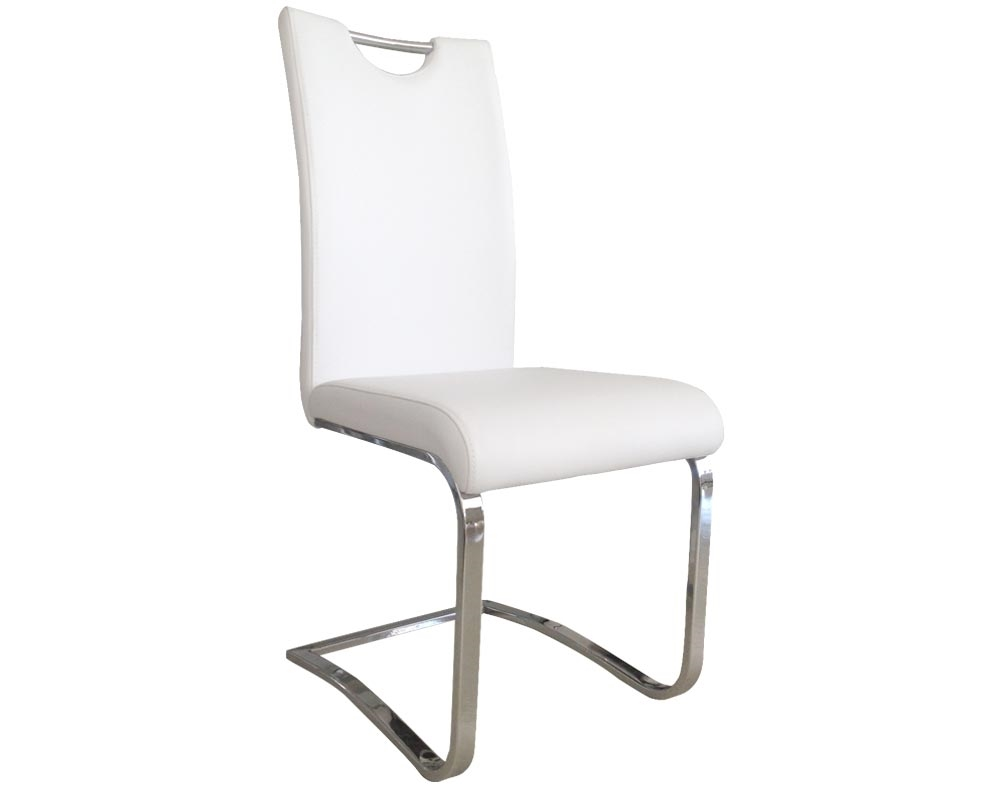 Nova Modern Dining Chair in White Leather  sc 1 st  Mh2g & Nova Modern Dining Chair White Blended Leather and Stainless Steel