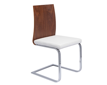 Forano Modern Dining Chair in Walnut and White