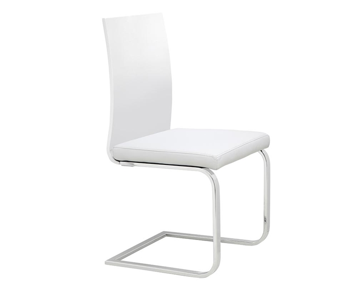 Forano Dining Chair in Walnut and White Leatherette