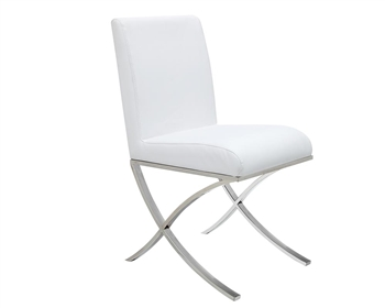 Ruffano Modern Dining Chair in White Leather