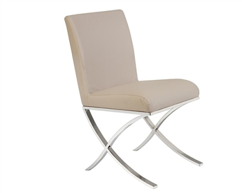 Ruffano Modern Dining Chair in Grey Leather