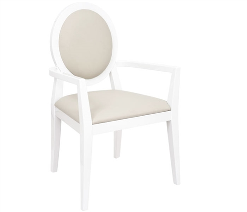 Ripoli Modern Dining Chair in Beige and White with Arms