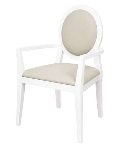Modern White Lacquer Dining Chair with Beige Leatherette back and seat. Available with or without Arms.