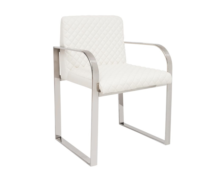Modern White Leatherette quilted Dining Chair with Stainless Steel arms.