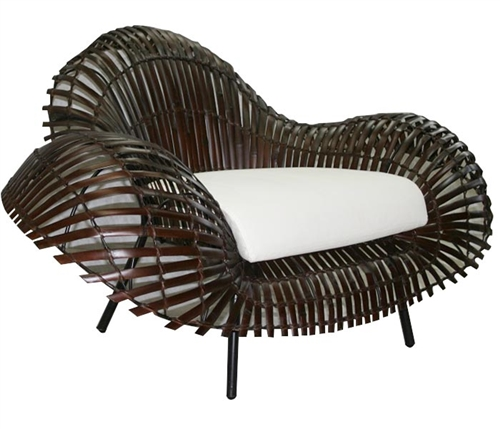 Lotus Modern Lounge Chair in Tobacco with White Linen Fabric