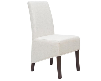 Button Modern Chair in Beige Linen with coconut buttons