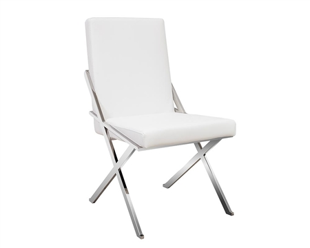 Ravello Modern Dining Chair in white leather