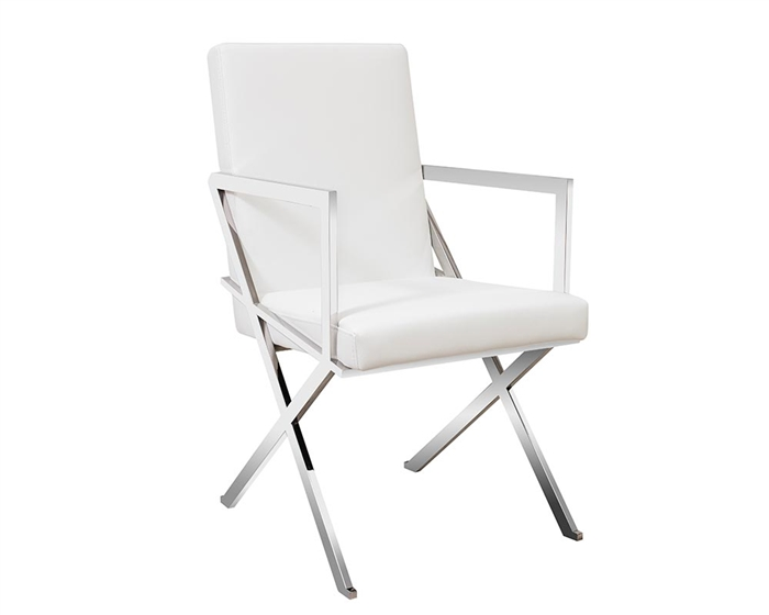 Ravello Modern Lounge Chair With Arms in white leather