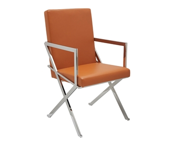 Ravello Modern Lounge Chair With Arms in Orange leather