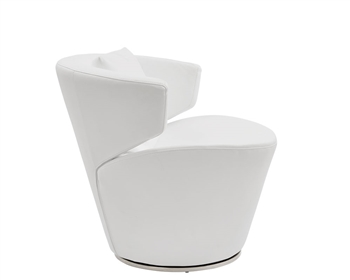 Vesuvio Modern Lounge Chair in white leather and stainless Steel