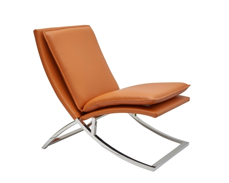 Nocera Modern Lounge Chair in orange leather and stainless Steel