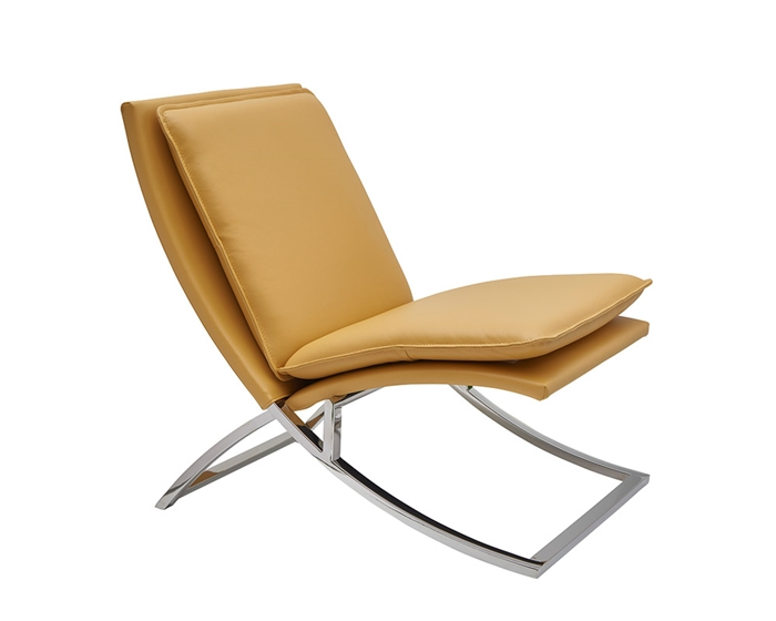 Nocera Modern Lounge Chair in yellow leather and stainless Steel