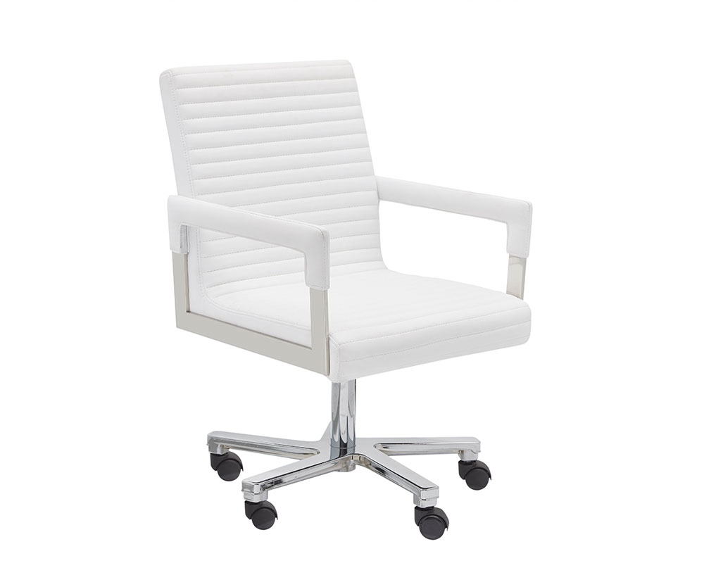 Stupendous Aquila Modern Office Chair In White Leather Caraccident5 Cool Chair Designs And Ideas Caraccident5Info