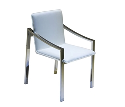 Ceppo Modern Dining Chair in White Leather