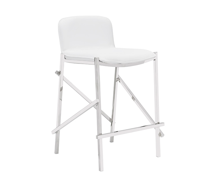 Ravello Modern Counter Stool in White Leather