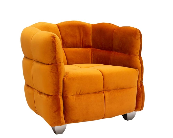 Ivoire Modern Lounge Chair Velvet Light Orange