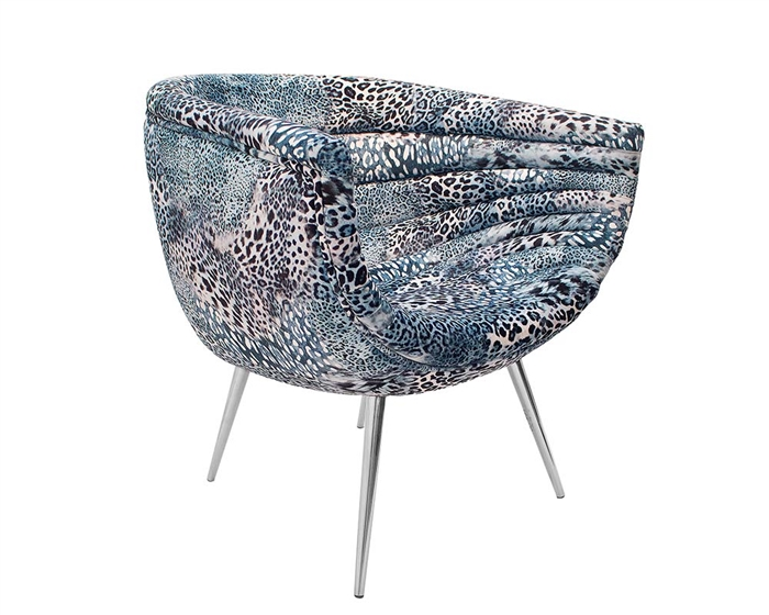 Nouveau Panthera Blue Fabric Modern Lounge Chair