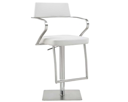 Zuri Barstool White Eco-Leather with adjustable height and square stainless steel base.