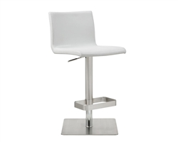 Watson Barstool White Eco-Leather with adjustable height and square stainless steel base.