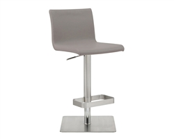 Watson Barstool Grey Eco-Leather with adjustable height and square stainless steel base.