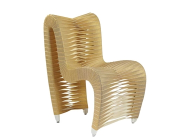 Modern Seat Belt Modern Dining Chair in GOLD