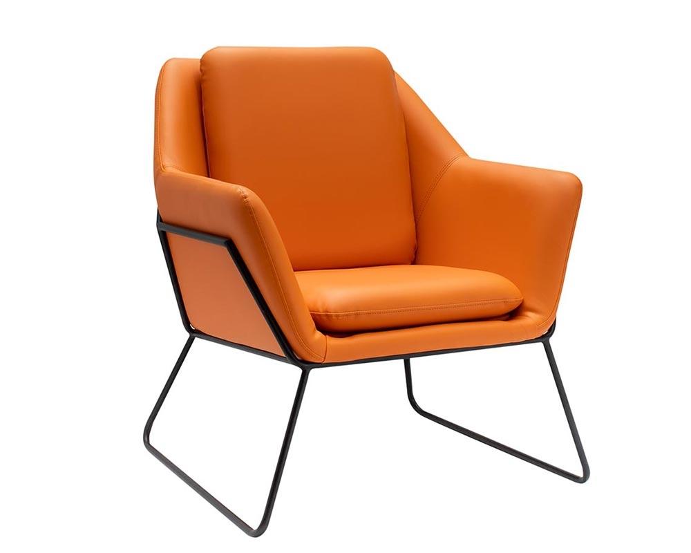 Pleasant Mazara Modern Lounge Chair Orange Eco Leather Machost Co Dining Chair Design Ideas Machostcouk