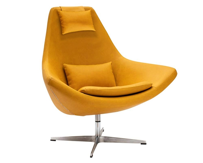 Minoa Modern Swivel Lounge Chair in Yellow