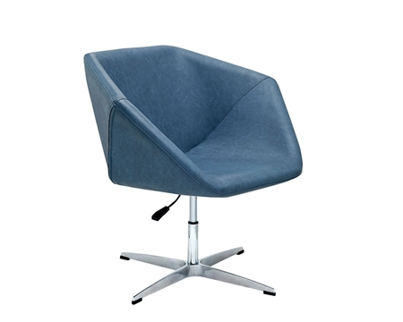 Leisure Modern Lounge Chair in Blue Eco-Leather