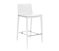 Palma Bar Stool White Leather - * Special Order