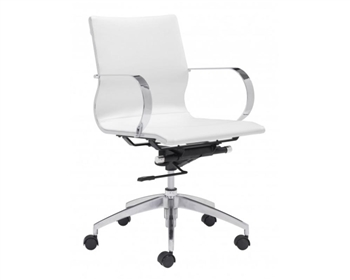 Glider Modern Low Back Office Chair White