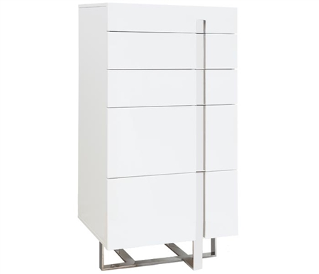 Lugo Modern Drawer Chest in White Lacquer