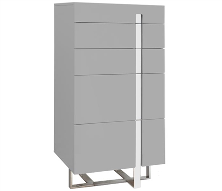 Lugo 5 Drawer Modern Chest in Grey Lacquer